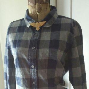 J Crew blue & gray plaid perfect flannel shirt M